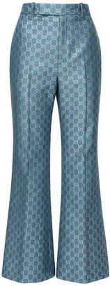 Gucci Gg Wool & Lame Blend Flared Crop Pants