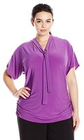 Notations Women's Plus Size Short Dolman Sleeve V Neck Top with Tie AT Neck and Ruched Sides