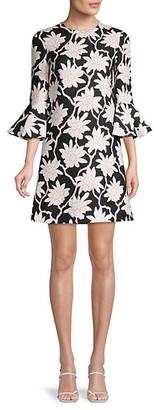 Valentino Floral-Print Wool Silk-Blend Dress