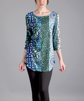 Lily Blue & Green Abstract Three-Quarter Sleeve Tunic - Plus Too