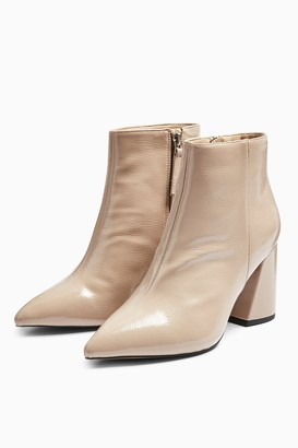 Topshop WIDE FIT HACKNEY Taupe Pointy Patent Boots