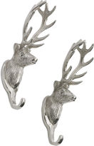 One Kings Lane Deer Head Hooks, Polished Nickel