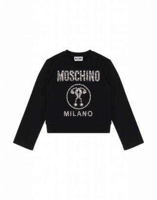 Moschino Crystal Double Question Mark Sweatshirt Woman Black Size 6a It - (6y Us)
