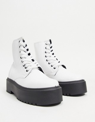 ASOS DESIGN Attitude 2 lace up chunky boots in white
