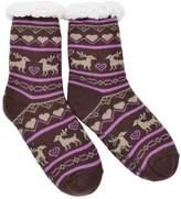 IvyFlair Extra Thick Thermal Fleece Reindeer Snowflake Non-Skid Slipper Socks