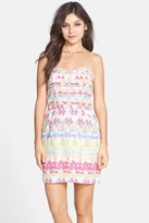 Charlie Jade Print Silk Strapless Dress