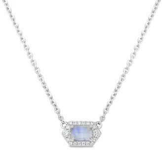 Petite Moonstone & Diamond Hexagon Necklace