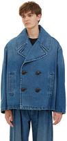 J.w. Anderson Men's Oversized Denim Pea Coat In Blue