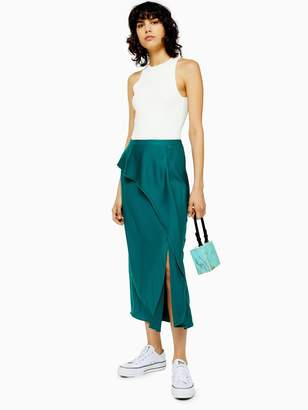 Topshop Draped Satin Bias Cut Skirt - Green
