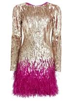 Matthew Williamson Gold Liquid Sequin Feather Trimmed Mini Dress