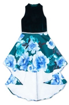Speechless Big Girls Velvet Bodice Floral Dress