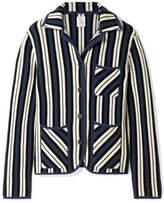 Rosie Assoulin Striped Waffle-knit Cashmere Blazer - Storm blue