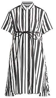 Sacai Women's Striped Poplin Short-Sleeve Shirtdress