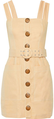 Nicholas Belted Linen Mini Dress