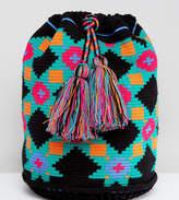 Jardin Del Cielo Wayuu Woven Backpack In Black Multi