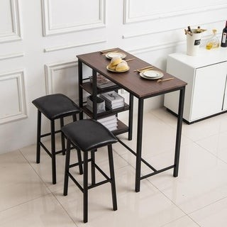 Zimtown Home Kitchen Breakfast Table 3 Piece Dining Set Bar Set with Soft Stool Three-Layer Frame