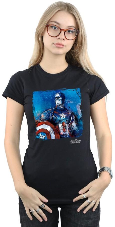Marvel Women's Captain America Art T-Shirt Medium Black
