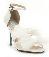 Betsey Johnson Blue by Big Satin & Mesh Tulle Bow Ankle Strap Dress Sandals
