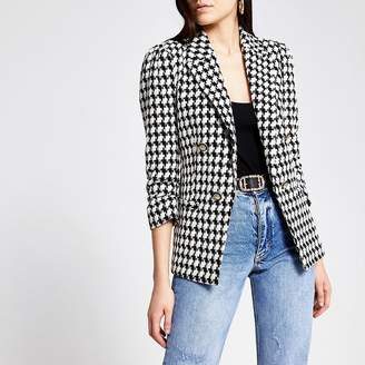 River Island White dogtooth check puff sleeve blazer