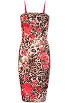 Quiz Red And Leopard Print Strappy Bodycon Dress