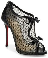 Christian Louboutin Empiralta Lace Bow Peep Toe Booties