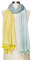 Merona Women's Yellow And Blue Checker Print Ombre Scarf