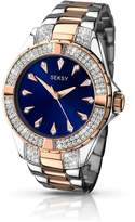 Seksy Blue Dial Two Tone Bracelet Ladies Watch