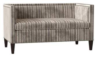 Duralee Furniture Hamilton Settee Duralee Furniture Body Fabric: Ballet Driftwood, Leg Color: Black Walnut, Nailhead Detail: French Natural