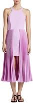 Halston Pleated Overlay Dress