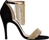 Lanvin Women's Chain-Embellished Ankle-Strap Sandals-BLACK