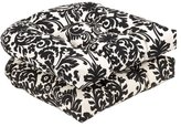 Pillow Perfect Indoor/Outdoor Black/Beige Damask Wicker Seat Cushions, 19-Inch Length, 2-Pack