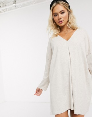 ASOS DESIGN super soft mini dress with long sleeves in oatmeal