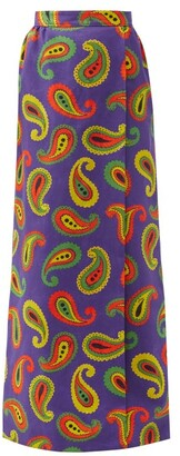 Gucci Paisley-print Cotton-blend Canvas Maxi Skirt - Purple Multi