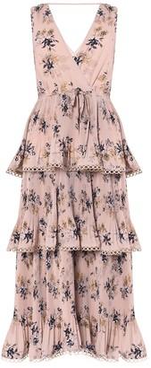 True Decadence Nude Floral Tiered Midi Dress