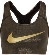 Nike Pro Classic Metallic Stretch-jersey Sports Bra - Bronze