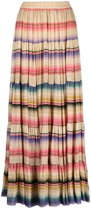 Mes Demoiselles Stripe Pattern High-Waisted Skirt