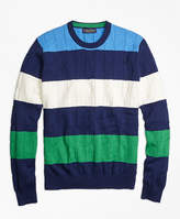 Brooks Brothers Cable Knit Slub Stripe Crewneck Sweater