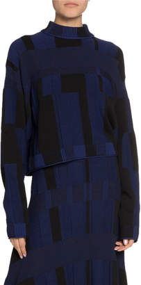 Proenza Schouler Patchwork Long-Sleeve Crewneck Sweater