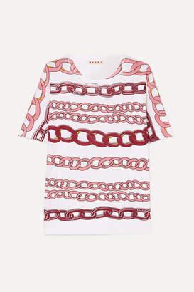 Marni Printed Cotton-jersey T-shirt - Pink