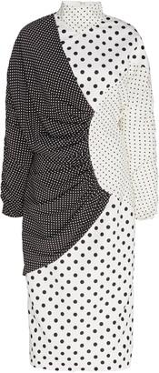 Rodarte Draped Polka-Dot Crepe Dress