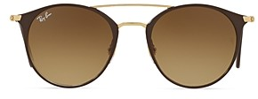 Ray-Ban Unisex Highstreet Brow Bar Round Sunglasses, 52mm
