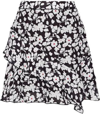Derek Lam 10 Crosby Ruffled Floral-print Silk-blend Mini Skirt