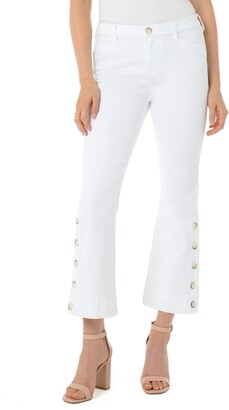 Liverpool High Waist Button Hem Kick Flare Jeans