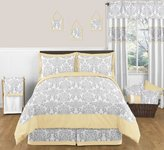 Yellow, Gray and White Avery Damask Print Children and Teen 3 Piece Full / Queen Boy or Girl Bedding Collection Set