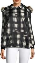 RED Valentino Women's Checked Faux Fur Trim Coat