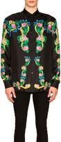 Versace Miami Print Long Sleeve Silk Shirt