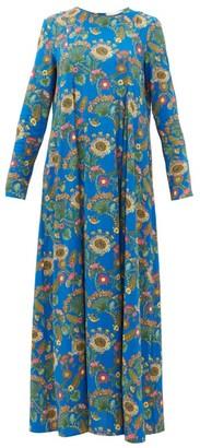La DoubleJ Trapezio Thistle-print Crepe Dress - Blue Print