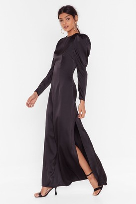 Nasty Gal Womens Hold Back Puff Shoulder Maxi Dress - black - 4