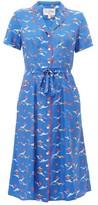 HVN Maria Bird-print Silk Midi Dress - Womens - Blue