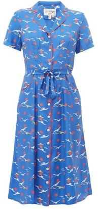 HVN Maria Bird-print Silk Midi Dress - Womens - Blue